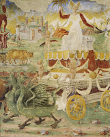 0327879 © Granger - Historical Picture ArchiveART & ARCHITECTURE.   Ceres' chariot pulled by dragons, detail from Triumph of Ceres, scene from Month of August, ca 1470, attributed to Cosimo Tura, (ca 1430-1495) and Master of Ercole, fresco, north wall, Hall of the Months, Palazzo Schifanoia (Palace of Joy), Ferrara, Emilia-Romagna. Italy, 15th century. Full credit: De Agostini / A. De Gregorio / The Gra