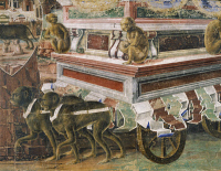 0327916 © Granger - Historical Picture ArchiveART & ARCHITECTURE.   Chariot drawn by monkeys, detail from Triumph of Vulcan, scenes taken from Month of September, attributed to Ercole de'Roberti (ca 1455-1496), fresco, north wall, Hall of the Months, Palazzo Schifanoia (Palace of Joy), Ferrara, Emilia-Romagna. Italy, 15th century. Full credit: De Agostini / A. De Gregorio / Granger, NYC -- All rights re
