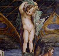 0327941 © Granger - Historical Picture ArchiveART & ARCHITECTURE.   Cherub, detail from the Myth of Diana and Actaeon, ca. 1524, by Francesco Mazzola, known as Parmigianino (1503-1540), fresco, north side of the Room of Diana and Actaeon, Rocca Sanvitale, Fontanellato, near Parma, Emilia-Romagna. Italy, 16th century. Full credit: De Agostini / G. Cigolini / Granger, NYC -- All rights reserved.