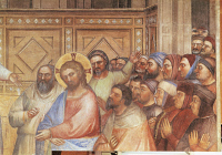 0327979 © Granger - Historical Picture ArchiveART & ARCHITECTURE.   Christ before Sanhedrin, scene from Stories from the New Testament, 1375-1378, by Giusto de' Menabuoi (active since 1349, died 1393), fresco, Baptistry of St John, Padua, Veneto. Detail. Italy, 14th century. Full credit: De Agostini Picture Library / Granger, NYC -- All rights