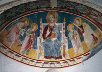 0328042 © Granger - Historical Picture ArchiveART & ARCHITECTURE.   Christ sitting on the Throne and Saints Peter, Paul, John the Evangelist and John the Baptist, frescoes in the crypt, 12th century. Abbey of St John in Venus, Fossacesia, Abruzzo. Italy, 12th century. Full credit: De Agostini / A. De Gregorio / Granger, NYC -- All rights reserv