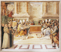0328191 © Granger - Historical Picture ArchiveART & ARCHITECTURE.   Council of Trent, fresco by the brothers Taddeo and Federico Zuccari, 1560-1566 in the Hall of Farnesina Magnificience of Palazzo Farnese, Caprarola. Italy, 16th century. Full credit: De Agostini / G. Dagli Orti / Granger, NYC -- All Rights Reserved.