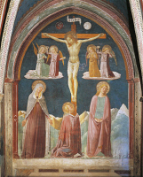 0328259 © Granger - Historical Picture ArchiveART & ARCHITECTURE.   Crucifixion, fresco by Nicolo Alunno (ca1430-1502), Chapel of the Ship, Church of St Mary in Campis, Foligno, Umbria. Italy, 15th century. Full credit: De Agostini / A. Dagli Orti / Granger, NYC -- All rights reserved.
