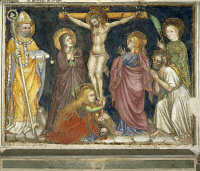 0328319 © Granger - Historical Picture ArchiveART & ARCHITECTURE.   Cycle of frescoes with Stories of the Virgin, 1424, Crucifixion, by Ottaviano Nelli (ca 1375-1444), Chapel of Palazzo Trinci, Foligno, Umbria. Italy, 15th century. Full credit: De Agostini / S. Vannini / Granger, NYC -- All Rights Reserved.