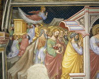0328320 © Granger - Historical Picture ArchiveART & ARCHITECTURE.   Cycle of frescoes with Stories of the Virgin, 1424, detail from the Arrival of the Apostles to take their leave of the Virgin, by Ottaviano Nelli (ca 1375-1444), Chapel of Palazzo Trinci, Foligno, Umbria. Italy, 15th century. Full credit: De Agostini / S. Vannini / Granger, NYC -- All Rights Reserved.