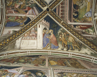 0328321 © Granger - Historical Picture ArchiveART & ARCHITECTURE.   Cycle of frescoes with Stories of the Virgin, 1424, detail from the vault depicting Reunion at the Golden Gate, by Ottaviano Nelli (ca 1375-1444), Chapel of Palazzo Trinci, Foligno, Umbria. Italy, 15th century. Full credit: De Agostini / S. Vannini / Granger, NYC -- All rights