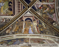 0328327 © Granger - Historical Picture ArchiveART & ARCHITECTURE.   Cycle of frescoes with Stories of the Virgin, 1424, detail from the vault with the Marriage of the Virgin, by Ottaviano Nelli (ca 1375-1444), Chapel of Palazzo Trinci, Foligno, Umbria. Italy, 15th century. Full credit: De Agostini / S. Vannini / Granger, NYC -- All rights reser