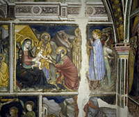 0328328 © Granger - Historical Picture ArchiveART & ARCHITECTURE.   Cycle of frescoes with Stories of the Virgin, 1424, Nativity , Ottaviano Nelli (1375-about 1444), Chapel of Palazzo Trinci, Foligno, Umbria. Italy, 15th century. Full credit: De Agostini / S. Vannini / Granger, NYC -- All Rights Reserved.