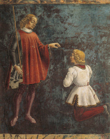 0328350 © Granger - Historical Picture ArchiveART & ARCHITECTURE.   Dean honored by a youth, detail from Sign of Gemini, scene from Month of May, ca 1470, by Francesco del Cossa (ca 1435-1477), fresco, east wall, Hall of the Months, Palazzo Schifanoia (Palace of Joy), Ferrara, Emilia-Romagna . Italy, 15th century. Full credit: De Agostini / A. De Gregorio / Granger, NYC -- All rights reserved.