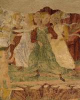 0328490 © Granger - Historical Picture ArchiveART & ARCHITECTURE.   Desperation of the maids of Proserpine, detail from Triumph of Ceres, scene from Month of August, ca 1470, attributed to Cosimo Tura, (ca 1430-1495) and Master of Ercole, fresco, north wall, Hall of the Months, Palazzo Schifanoia (Palace of Joy), Ferrara, Emilia-Romagna. Italy, 15th century. Full credit: De Agostini / A. De Gregorio / T