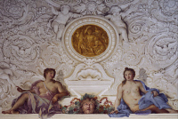 0328505 © Granger - Historical Picture ArchiveART & ARCHITECTURE.   Detail from a fresco by Carlo Maratta (1625-1713) and Ciro Ferri (1634-1689) in the Summer Hall at Villa Falconieri La Rufina, Frascati. Italy, 17th century. Full credit: De Agostini / A. De Gregorio / Granger, NYC -- All Rights Reserved.