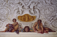 0328506 © Granger - Historical Picture ArchiveART & ARCHITECTURE.   Detail from a fresco by Carlo Maratta (1625-1713) and Ciro Ferri (1634-1689) in the Summer Hall at Villa Falconieri La Rufina, Frascati. Italy, 17th century. Full credit: De Agostini / A. De Gregorio / Granger, NYC -- All Rights Reserved.