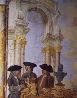 0328513 © Granger - Historical Picture ArchiveART & ARCHITECTURE.   Detail from a fresco by Leone Ghezzi (1674-1755) in the Winter Hall at Villa Falconieri La Rufina, Frascati. Italy, 17th century. Full credit: De Agostini / A. De Gregorio / Granger, NYC -- All rights reserved.