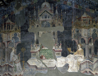 0328661 © Granger - Historical Picture ArchiveART & ARCHITECTURE.   Detail from the frescoes in the Hall of the Liberal Arts and of the Planets,1411-1412, by Gentile da Fabriano, Trinci palace, Foligno, Umbria. Detail. Italy, 15th century. Full credit: De Agostini / A. Dagli Orti / Granger, NYC -- All Rights Reserved.