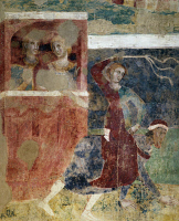 0328755 © Granger - Historical Picture ArchiveART & ARCHITECTURE.   Detail from The ups and downs of a young man's initiations into the mysteries of love, 1305-1311, by Memmo di Filippuccio (ca 1250-ca 1325), fresco, Chambers of the podesta, Peoples' Palace, San Gimignano (UNESCO World Heritage List, 1990), Tuscany. Italy, 14th century. Full credit: De Agostini / G. Nimatallah / Granger, NYC -- All righ