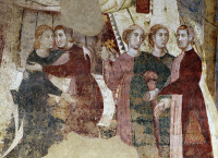 0328756 © Granger - Historical Picture ArchiveART & ARCHITECTURE.   Detail from The ups and downs of a young man's initiations into the mysteries of love, 1305-1311, by Memmo di Filippuccio (ca 1250-ca 1325), fresco, Chambers of the podesta, Peoples' Palace, San Gimignano (UNESCO World Heritage List, 1990), Tuscany. Italy, 14th century. Full credit: De Agostini / G. Nimatallah / Granger, NYC -- All righ