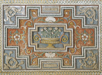 0328763 © Granger - Historical Picture ArchiveART & ARCHITECTURE.   Detail from the walls decorated with stuccoes and mosaics in the Room of Mount Parnassus at Villa Aldobrandini, Frascati. Italy, 16th-17th century. Full credit: De Agostini / A. De Gregorio / Granger, NYC -- All rights