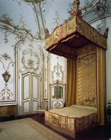 0328770 © Granger - Historical Picture ArchiveART & ARCHITECTURE.   Detail of a canopy bed and embroidered satin canopy, Room of Stuccoes, Villa Durazzo Faraggiana, Albissola Marina. Italy, 18th century. Full credit: De Agostini / G. Cigolini / Granger, NYC -- All rights reserved.