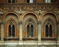 0328943 © Granger - Historical Picture ArchiveART & ARCHITECTURE.   Detail of the facade of the General Hospital, architects Antonio Averlino, known as Filarete (ca 1400-ca 1469), and Guiniforte Solari (1429-1481), Milan. Italy, 15th century. Full credit: De Agostini / G. Nimatallah / Granger, NYC -- All rights reserved.