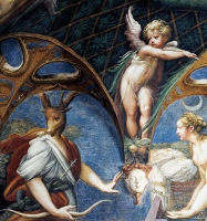 0329047 © Granger - Historical Picture ArchiveART & ARCHITECTURE.   Diana turning Actaeon into a stag, detail from the Myth of Diana and Actaeon, ca. 1524, by Francesco Mazzola, known as Parmigianino (1503-1540), fresco, west side of the Room of Diana and Actaeon, Rocca Sanvitale, Fontanellato, near Parma, Emilia- Romagna. Italy, 16th century. Full credit: De Agostini / G. Cigolini / The Granger Collect