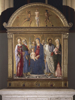 0329177 © Granger - Historical Picture ArchiveART & ARCHITECTURE.   Enthroned Madonna and Child with Saints and Flagellation, 1461-1463, by Matteo di Giovanni (ca 1430-1495), panel, Cathedral to the Assumption of Mary, Pienza (UNESCO World Heritage List, 1996), Tuscany. Italy, 15th century. Full credit: De Agostini / G. Nimatallah / Granger, NYC -- All Rights Reserved.