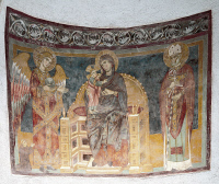 0329182 © Granger - Historical Picture ArchiveART & ARCHITECTURE.   Enthroned Virgin and Child between the Archangel Michael and St Nicholas, 12th century frescoes. Abbey of St John in Venus, Fossacesia, Abruzzo. Italy, 12th century. Full credit: De Agostini / A. De Gregorio / Granger, NYC -- All Rights Reserved.