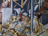 0329353 © Granger - Historical Picture ArchiveART & ARCHITECTURE.   Fall of the House of Job, scene from the Stories of the Old Testament, 1367, by Bartolo di Fredi (1330-1410), fresco, Collegiate Church of St Mary of the Assumption, San Gimignano (UNESCO World Heritage List, 1990), Tuscany. Detail. Italy, 14th century. Full credit: De Agostini / G. Nimatallah / Granger, NYC -- All rights reserved.