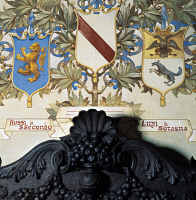 0329357 © Granger - Historical Picture ArchiveART & ARCHITECTURE.   Family coat-of-Arms, detail of the decoration of the Dining Room, Rocca Sanvitale, Fontanellato, near Parma, Emilia-Romagna. Italy. Full credit: De Agostini / G. Cigolini / Granger, NYC -- All rights reserved.