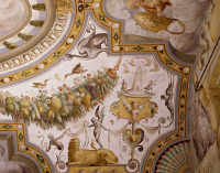 0329358 © Granger - Historical Picture ArchiveART & ARCHITECTURE.   Fantastical patterns and festoon with fruit and flowers, detail from the vault of the Hall of Victory, fresco, Torrechiara Castle, near Langhirano, Emilia-Romagna. Italy, 16th century. Full credit: De Agostini / A. De Gregorio / Granger, NYC -- All rights reserved.