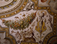 0329359 © Granger - Historical Picture ArchiveART & ARCHITECTURE.   Fantastical patterns and festoon with fruit and flowers, detail from the vault of the Hall of Victory, fresco, Torrechiara Castle, near Langhirano, Emilia-Romagna. Italy, 16th century. Full credit: De Agostini / A. De Gregorio / Granger, NYC -- All rights reserved.