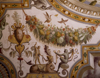0329360 © Granger - Historical Picture ArchiveART & ARCHITECTURE.   Fantastical patterns and festoon with fruit and flowers, detail from the vault of the Hall of Victory, fresco, Torrechiara Castle, near Langhirano, Emilia-Romagna. Italy, 16th century. Full credit: De Agostini / A. De Gregorio / Granger, NYC -- All rights reserved.