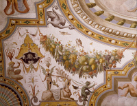 0329361 © Granger - Historical Picture ArchiveART & ARCHITECTURE.   Fantastical patterns and festoon with fruit and flowers, detail from the vault of the Hall of Victory, fresco, Torrechiara Castle, near Langhirano, Emilia-Romagna. Italy, 16th century. Full credit: De Agostini / A. De Gregorio / Granger, NYC -- All rights reserved.