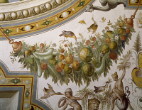 0329362 © Granger - Historical Picture ArchiveART & ARCHITECTURE.   Fantastical patterns and festoon with fruit and flowers, detail from the vault of the Hall of Victory, fresco, Torrechiara Castle, near Langhirano, Emilia-Romagna. Italy, 16th century. Full credit: De Agostini / A. De Gregorio / Granger, NYC -- All rights reserved.