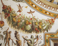 0329393 © Granger - Historical Picture ArchiveART & ARCHITECTURE.   Festoon with fruit and flowers, detail from the vault of the Hall of Victory, fresco, Torrechiara Castle, near Langhirano, Emilia-Romagna. Italy, 16th century. Full credit: De Agostini / A. De Gregorio / Granger, NYC -- All Rights Reserved.