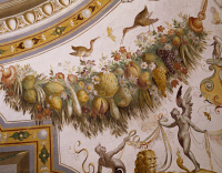 0329395 © Granger - Historical Picture ArchiveART & ARCHITECTURE.   Festoon with fruit and flowers, detail from the vault of the Hall of Victory, fresco, Torrechiara Castle, near Langhirano, Emilia-Romagna. Italy, 16th century. Full credit: De Agostini / A. De Gregorio / Granger, NYC -- All Rights Reserved.