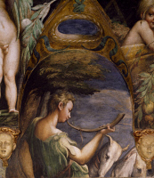 0329412 © Granger - Historical Picture ArchiveART & ARCHITECTURE.   Figure of a hunter, detail from the Myth of Diana and Actaeon, ca. 1524, by Francesco Mazzola known as Parmigianino (1503-1540), fresco, north side of the Room of Diana and Actaeon, Rocca Sanvitale, Fontanellato, near Parma, Emilia-Romagna. Italy, 16th century. Full credit: De Agostini / A. De Gregorio / Granger, NYC -- All rights reser
