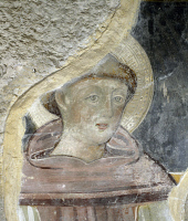 0329478 © Granger - Historical Picture ArchiveART & ARCHITECTURE.   Figure of Saint, probably St Dominic, detail from a 13th-14th century fresco in the Chapel of Our Lady of Loreto in the St Peter's Church, Fondi, Lazio. Italy,13th-14th century. Full credit: De Agostini / S. Vannini / Granger, NYC -- All rights reserved.