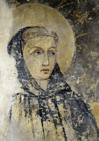 0329479 © Granger - Historical Picture ArchiveART & ARCHITECTURE.   Figure of Saint, probably St Francis, detail from a 13th-14th century fresco in the Chapel of Our Lady of Loreto in the St Peter's Church, Fondi, Lazio. Italy,13th-14th century. Full credit: De Agostini / S. Vannini / Granger, NYC -- All rights reserved.