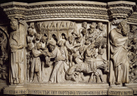 0329530 © Granger - Historical Picture ArchiveART & ARCHITECTURE.   Figures of Prophets framing the Massacre of the innocents, scene from the Life of Christ, panel on the pulpit in the Cathedral of Pisa, 1302-1310, by Giovanni Pisano (ca 1240-died before 1320), marble, primatial metropolitan Cathedral of St Mary of the Assumption, Cathedral Square or Square of Miracles (UNESCO World Heritage List, 1987)