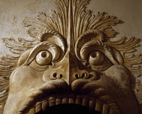 0329577 © Granger - Historical Picture ArchiveART & ARCHITECTURE.   Fish Mask or Fish Fireplace, Villa della Torre, Fumane, Veneto. Detail. Italy, 16th century. Full credit: De Agostini / A. Dagli Orti / Granger, NYC -- All ri.