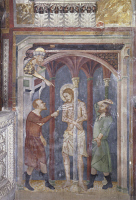 0329582 © Granger - Historical Picture ArchiveART & ARCHITECTURE.   Flagellation of Christ , fresco from the Master of Sacro Speco School. Upper Church of Sacro Speco Monastery, Subiaco. Italy, 14th century. Full credit: De Agostini / G. Nimatallah / Granger, NYC -- All rights reserved