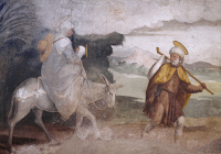 0329591 © Granger - Historical Picture ArchiveART & ARCHITECTURE.   Flight into Egypt, fresco by Teramo Piaggio (1485-1554), Shrine of Our Lady of Grace, Chiavari. Italy, 16th century. Full credit: De Agostini / A. De Gregorio / Granger, NYC -- All rights reserved.