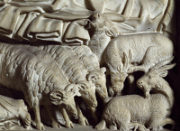 0329595 © Granger - Historical Picture ArchiveART & ARCHITECTURE.   Flock of rams, detail from the Nativity, panel on the pulpit of the Baptistery of St John, 1255-1260, by Nicola Pisano (born between 1220 and 1225-died between 1278 and 1287), Baptistery of St John, Cathedral Square or Square of Miracles (UNESCO World Heritage List, 1987), Pisa, Tuscany. Italy, 13th century. Full credit: De Agostini Pic