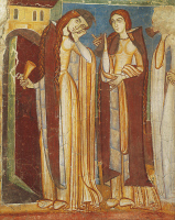 0329605 © Granger - Historical Picture ArchiveART & ARCHITECTURE.   Foolish virgins, fresco, Hocheppan Chapel, Eppan an der Weinstrasse, Trentino-Alto Adige. Detail. Italy, 12th-13th century. Full credit: De Agostini / A. De Gregorio / Granger, NYC -- All rights reserved.