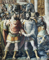 0329645 © Granger - Historical Picture ArchiveART & ARCHITECTURE.   Francis I and Charles V during the Truce of Nice, detail from History of the Pontificate of Paul III Farnese, 1553-1563, fresco by Cecchino Salviati (1510-1563), Palazzo Farnese, Rome. Italy, 16th century. Full credit: De Agostini / G. Dagli Orti / Granger, NYC -- All rights re
