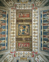0329774 © Granger - Historical Picture ArchiveART & ARCHITECTURE.   Frescoed vault of the Games room, Castle Estense, Ferrara, Emilia-Romagna. Detail. Italy, 16th century. Full credit: De Agostini / A. De Gregorio / Granger, NYC -- All Rights Reserved.
