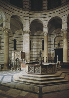 0330202 © Granger - Historical Picture ArchiveART & ARCHITECTURE.   Glimpse of the interior with the baptismal font, by Guido Bigarelli (active 1244, died before 1257), and the pulpit by Nicola Pisano (born between 1220 and 1225-died between 1278 and 1287), Baptistery of St John, Cathedral Square or Square of Miracles (UNESCO World Heritage List, 1987), Pisa, Tuscany. Detail. Italy. Full credit: De Agos