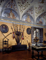 0330292 © Granger - Historical Picture ArchiveART & ARCHITECTURE.   Glimpse of the Room of the Weapons with the early 16th century halberds collection and a Ptolemaic sphere on the table, Rocca Sanvitale, Fontanellato, near Parma, Emilia-Romagna. Italy. Full credit: De Agostini / G. Cigolini / Granger, NYC -- All rights reserved.