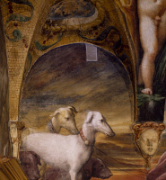 0330397 © Granger - Historical Picture ArchiveART & ARCHITECTURE.   Group of dogs, detail from the Myth of Diana and Actaeon, ca. 1524, by Francesco Mazzola known as Parmigianino (1503-1540), fresco, south side of the Room of Diana and Actaeon, Rocca Sanvitale, Fontanellato, near Parma, Emilia-Romagna. Italy, 16th century. Full credit: De Agostini / A. De Gregorio / Granger, NYC -- All rights reserved.