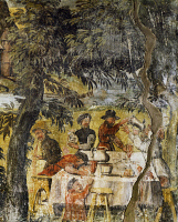 0330398 © Granger - Historical Picture ArchiveART & ARCHITECTURE.   Group of drinkers, ca 1548, by Marcello Fogolino (born between 1483-1488, died 1548), fresco, Palazzo Lantieri, Gorizia, Friuli-Venezia Giulia. Italy, 16th century. Full credit: De Agostini / A. De Gregorio / Granger, NYC -- All Rights Reserved.